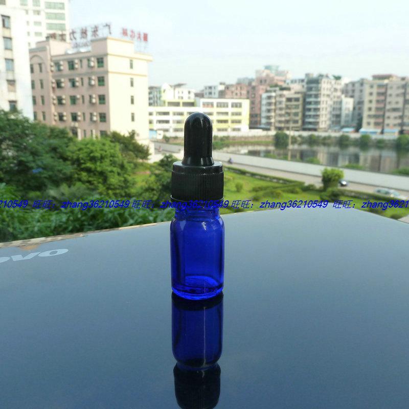 파란색 유리 에센셜 오일 병 5ml 검은 플라스틱 일반 dropper cap. 오일 바이알, 에센셜 오일 용기