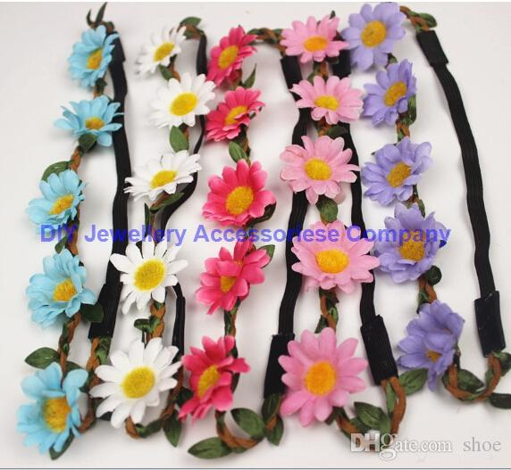 Free shipping Bohemian Headband for Women three Flowers Braided Leather Elastic Headwrap sunflower hair band Assorted Colors Hair Ornaments