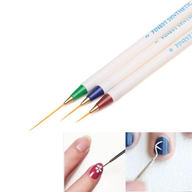 Toptan-3 ADET Nail Art Tasarım Seti Süsleyen Boyama Çizim Fırça Kalem Kadınlar için Makyaj Araçları Kızlar