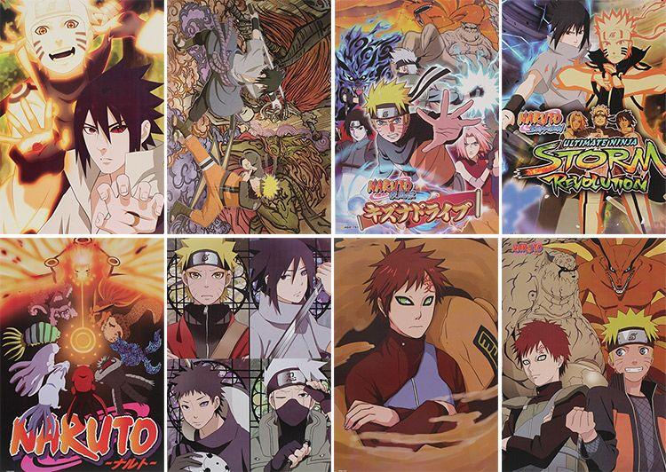 Naruto Anime Posters de haute qualité affiches mur autocollant Chambre Décoration 8pcs / set 42X29CM haute qualité Livraison gratuite