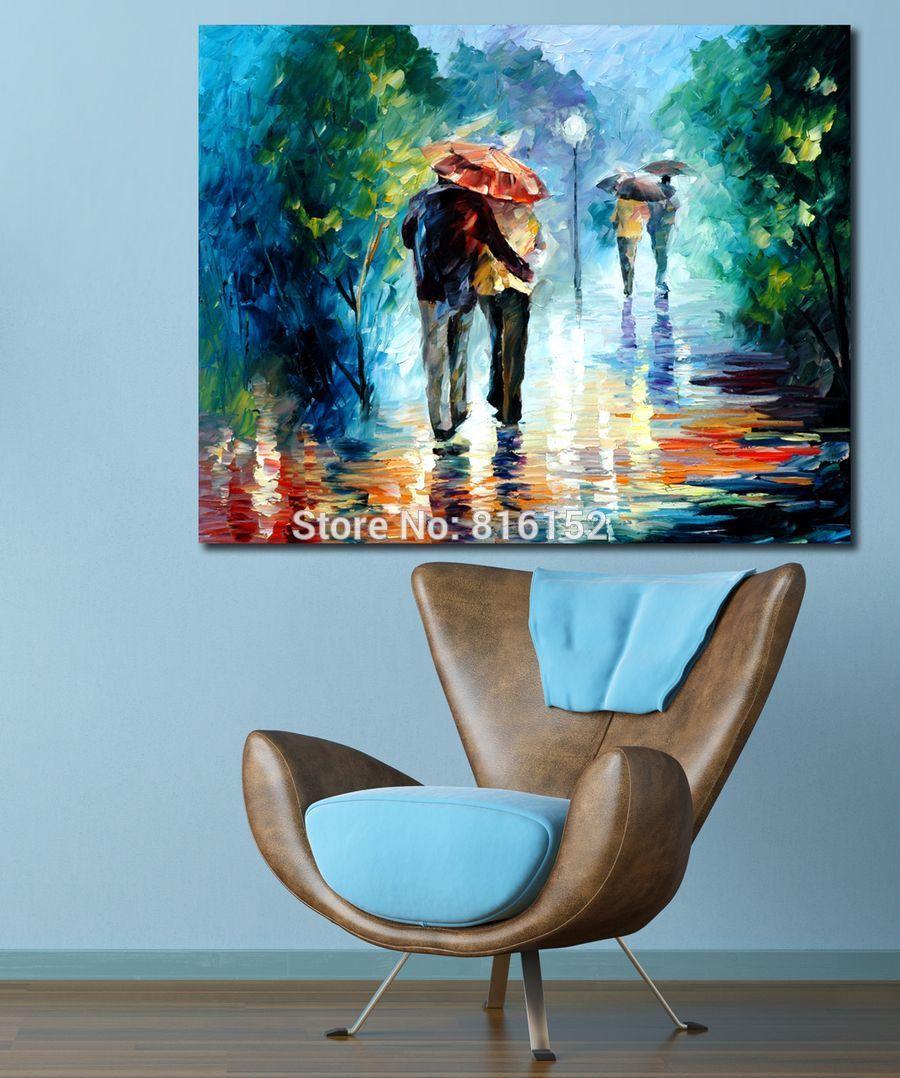 연인 손에 손을 포옹 WalkTogther 100 % Handpainted 유화 캔버스 색상 팔레트 호텔 사무실 홈 장식