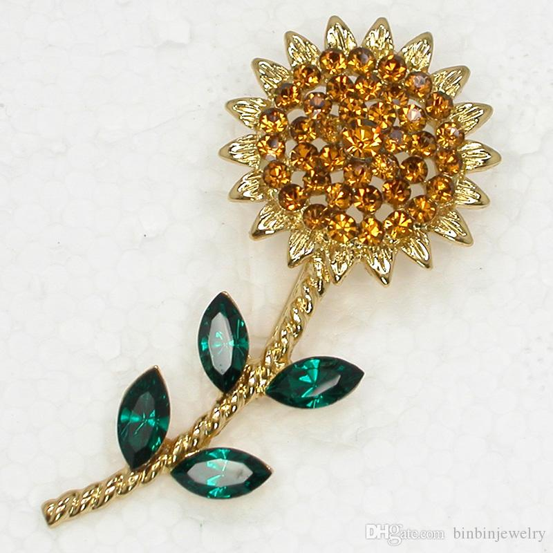 Wholesale Crystal Rhinestone Sunflower Brooches Fashion Costume Pin Brooch Wedding Party Prom Brooch Jewelry C755