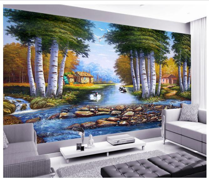 Large mural papel de parede Fantasy Forest Swan Creek wall sticker wholesale Factory Direct FREE SHIPPING7845r!!
