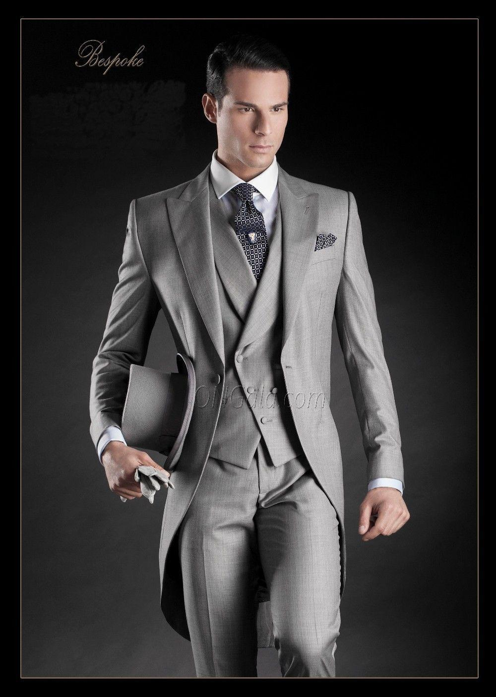 2015 Italian Grey Morning Mens Suits peaked lapel mens wedding ...