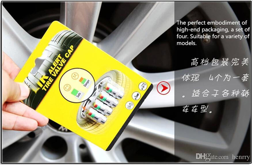 10sets (40pcs) de Air Alert válvula del neumático del coche del casquillo de presión de los neumáticos control de presión de neumáticos de automóviles 2.4BAR de herramientas TPMS 36PSI 3 colores de alerta