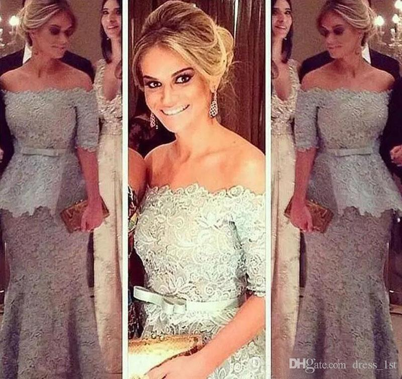 2017 Silver Grey Lace Off Shoulder Mother Of The Bride Dresses Elegant Half Sleeve Bow Sash With Peplum Mother Of Groom Dress EN11132