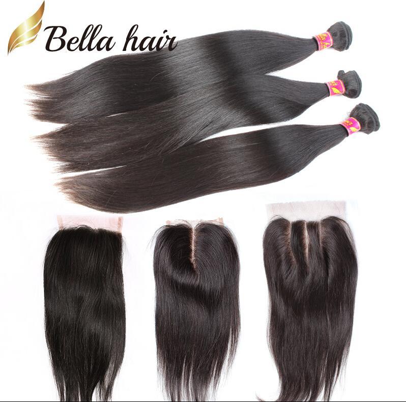 Hair Weaves with Closure Indian Peruvian Malaysian Brazilian Unprocessed Weave Black Silky Straight BellaHair Bundles