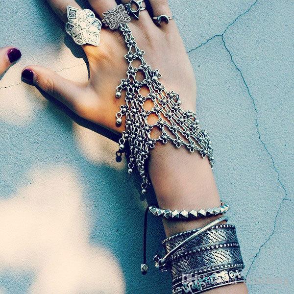 Bohemian Gypsy Turkish Flower Silver Gypsy Ethnic Tribal Festival Statement Finger Ring Slave Chain Harness Bracelet Wholesale 10 Pcs
