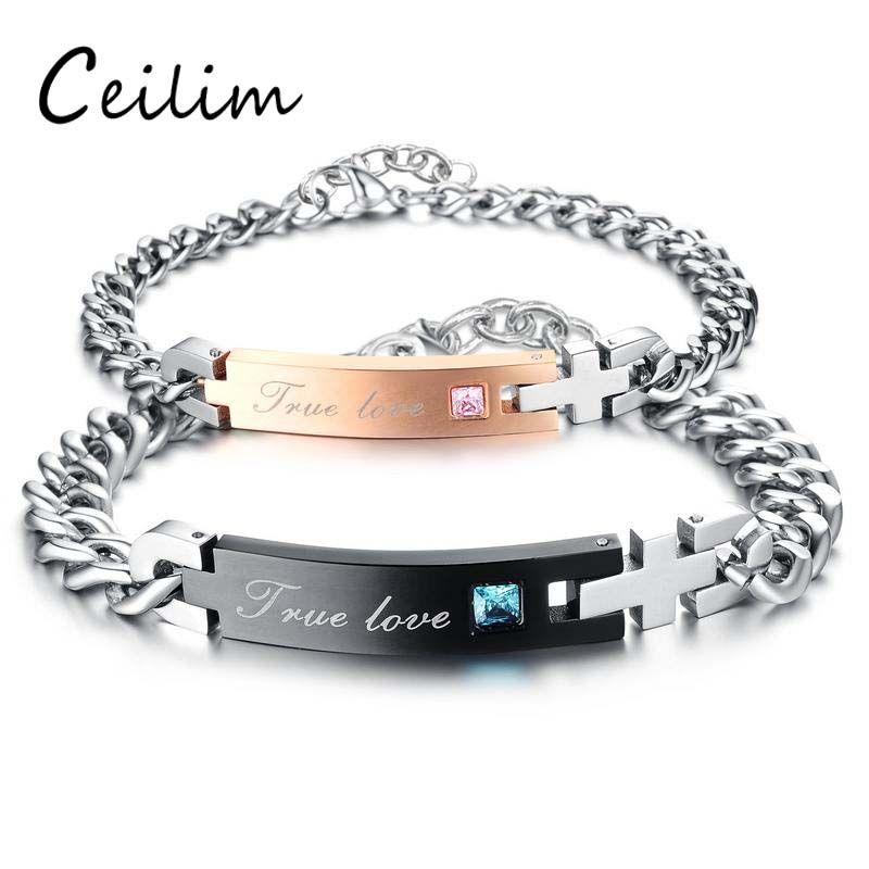 316L Acier inoxydable True Love Couple Couple Bracelet avec Crystal Saint Valentin Cadeau Romantique Bracelets Croix Charme Pour Femmes Hommes Bijoux