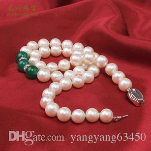 Wholesale 9-10mm round natural pearl necklace white agate inlaid XL041605