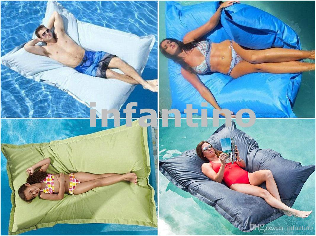 XXL Large Blue Outdoor Float Bean Bag Pool Side Waterproof Beanbag Chair Extra Wide Giant Lounge BIG SIZE 56inch X 67inches Floats 2018 From