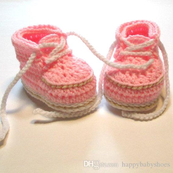 Cute Handmade Knit Crochet baby pink Handmade Crochet Warm Winter Booties Boots Baby First Walker Shoes with Shoelace 0-12M customer