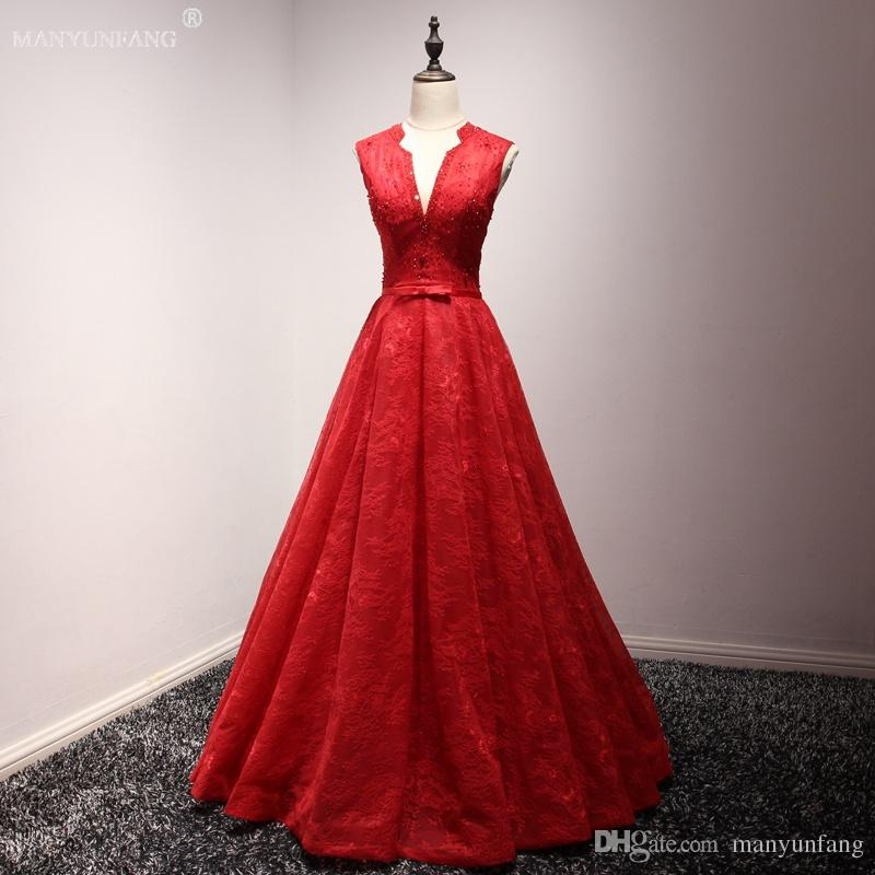 2018 New Dresses Party Evening Crew Red Tulle V Neck Formal Evening