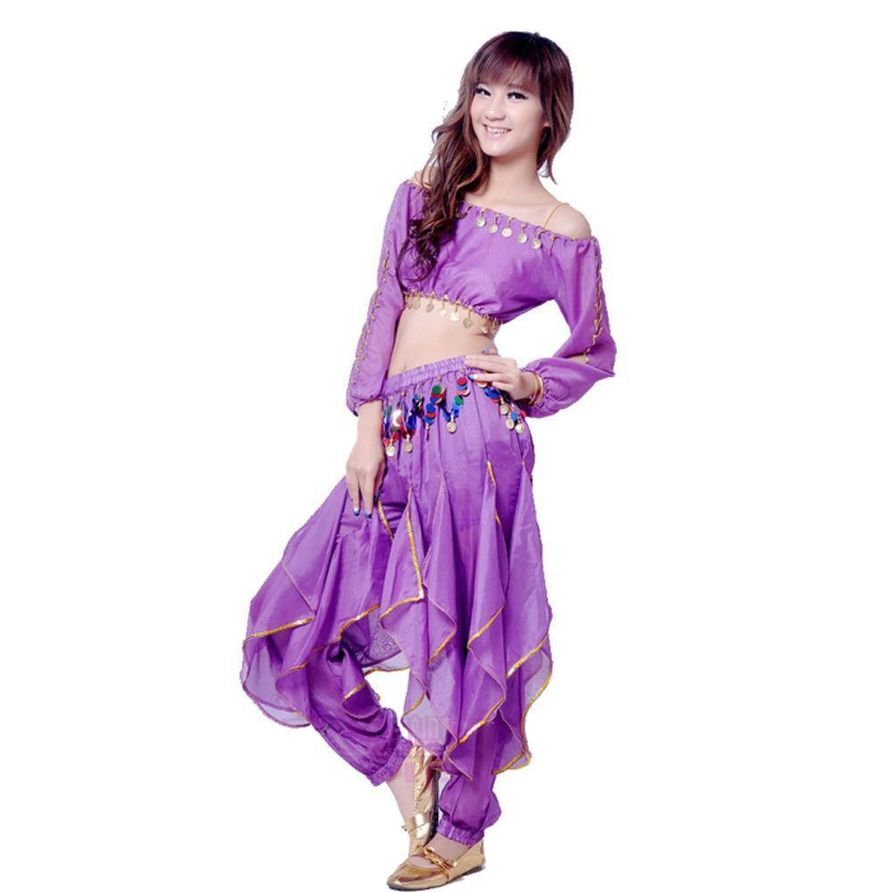 New Belly Dance Costume Set Top Tribal Gold Wavy Harem Pants Skirt