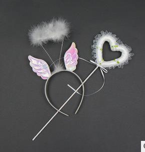 Девушки фея крылья оголовье палочки набор перо волос группа кружева лента в форме сердца волшебная палочка дети производительность партии реквизит праздничные поставки