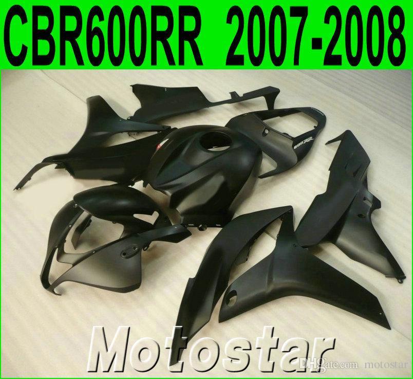 Injection molding popular bodykits for HONDA CBR600RR 07 08 fairings CBR 600RR F5 2007 2008 all matte black plastic fairing kit KQ54
