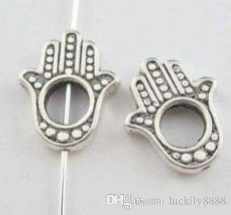 200Pcs Tibetan Silver Double sided Fatima Hand Bead charms Frame 6mm Hole Jewelry