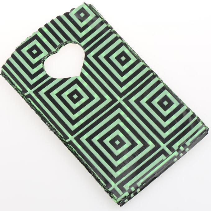 200pcs 9X15cm 15X20cm Vert Foncé Avec Des Motifs De Géométrie Noir Pochettes Sacs En Plastique Bijoux Sac Cadeau