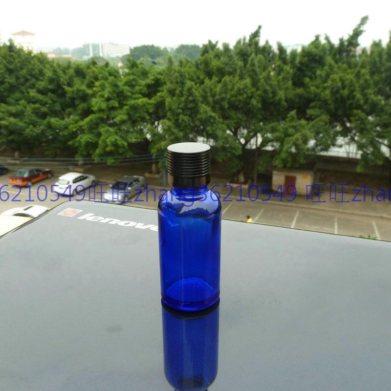 30ml 블루 글라스 에센셜 오일 병 반짝이는 블랙 알루미늄 캡. 오일 바이알, 에센셜 오일 용기