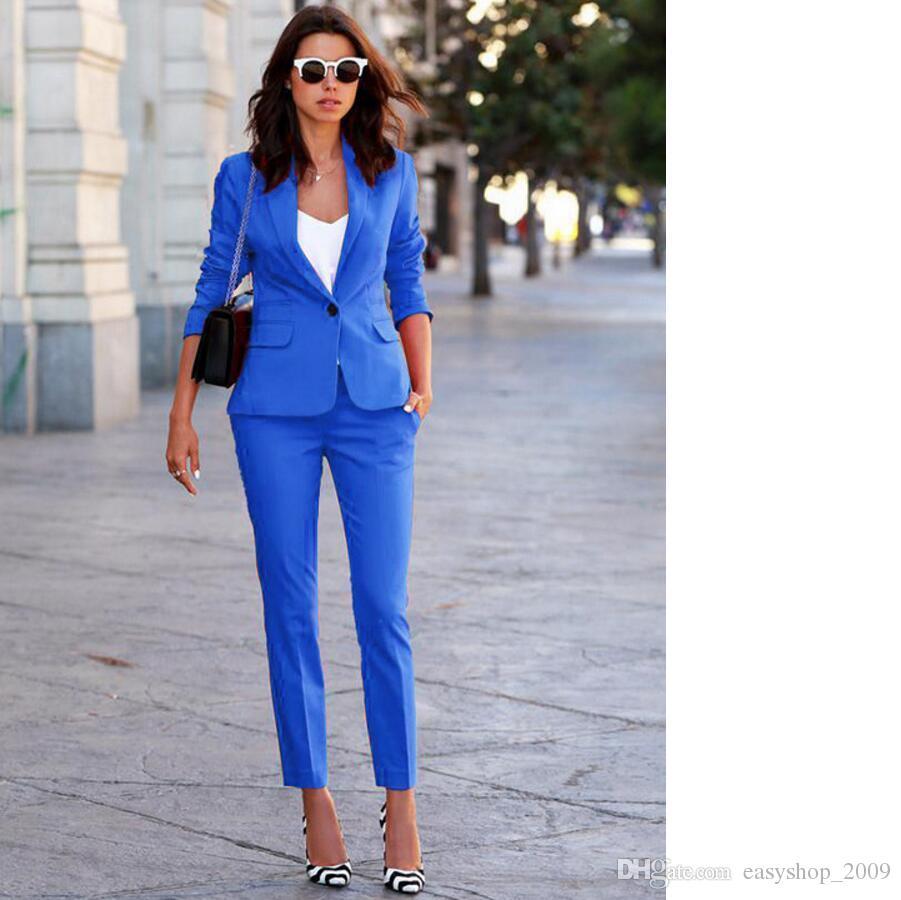 Women's Business Suits Formal Office pant Suits female Work wear 2 Piece Sets One Button Uniform Designs Blazer Suit Jacket Set