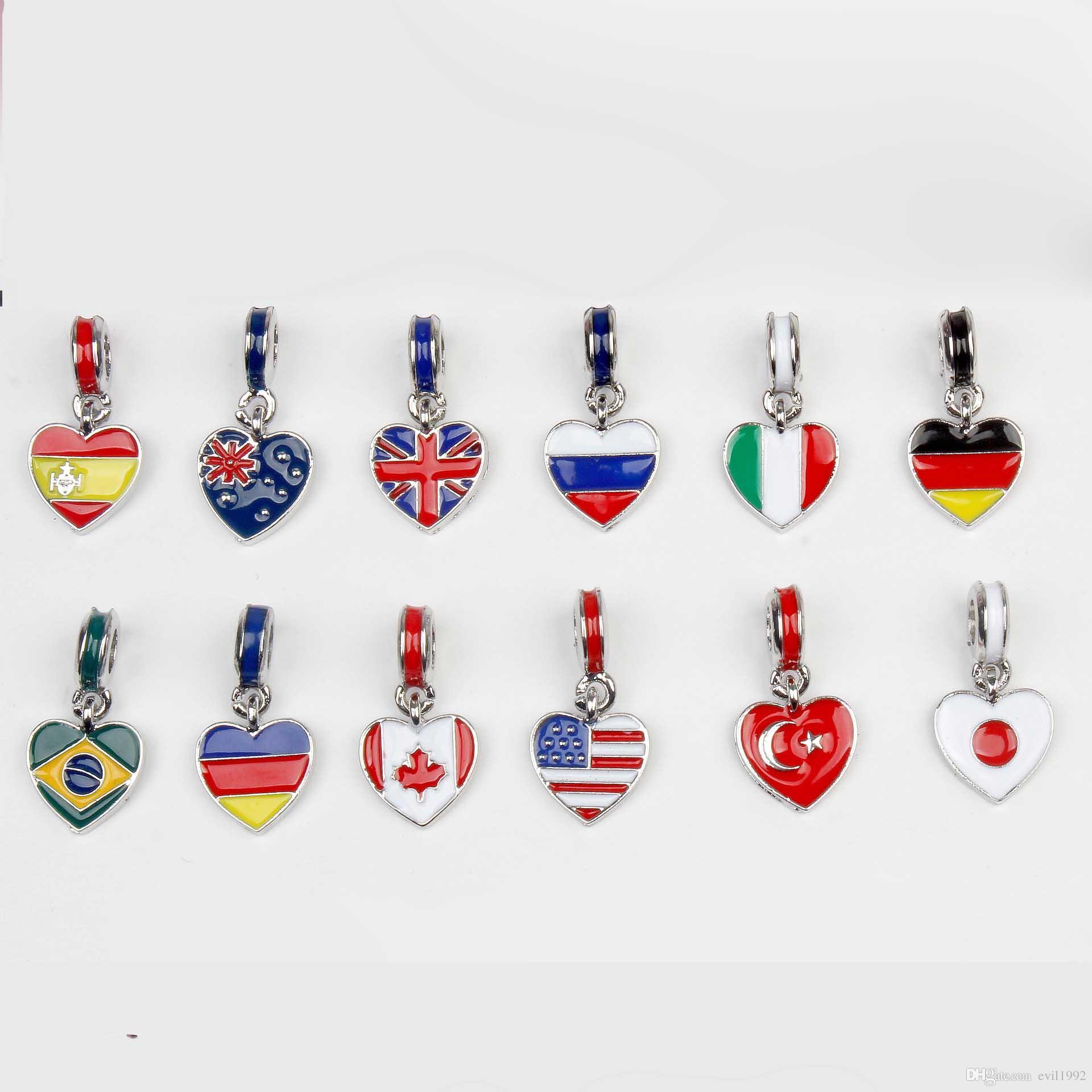 20pcs 드롭 선적 실버 도금 국기 에나멜 펜던트 비즈 맞는 판도라 뱀 체인 유럽 팔찌 팔찌 여성 어린이 선물
