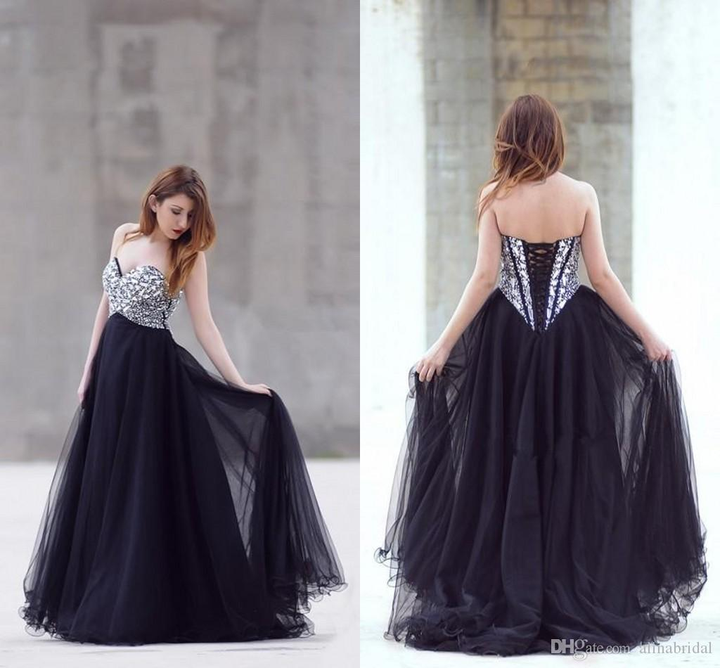 Sparking Crystal Beaded Black Prom Dresses A Line Sweetheart Floor Length back Lace Up Formal Evening Party Gowns Vestidos de Festa