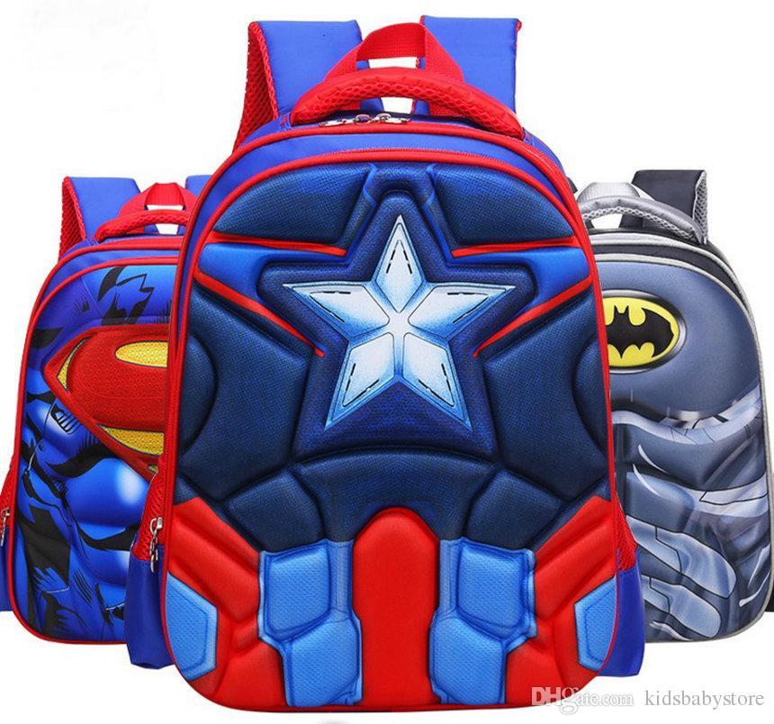 High Quality 3D Captain America Designer Kids School Bags Boy Spiderman School Backpack Kids Bag Shoulders Bag Waterproof 10 pcs/lot