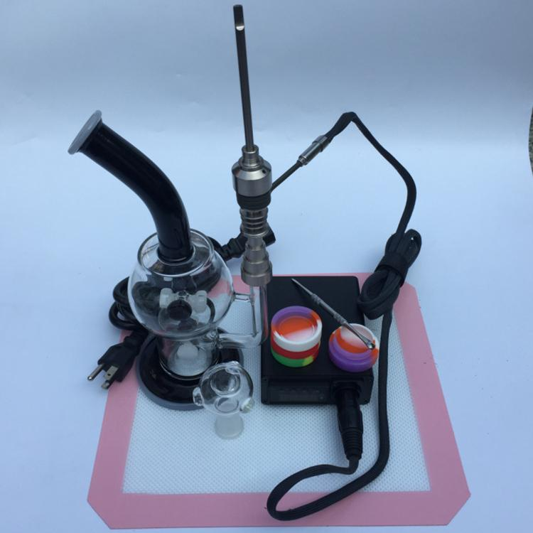 2016 Glas Bong Kitscontrol Box + Titanium Nail 16mm (6in1) + Siliconen DAB MAT + Siliconen potten + Wax Tool Kits Gratis DHL
