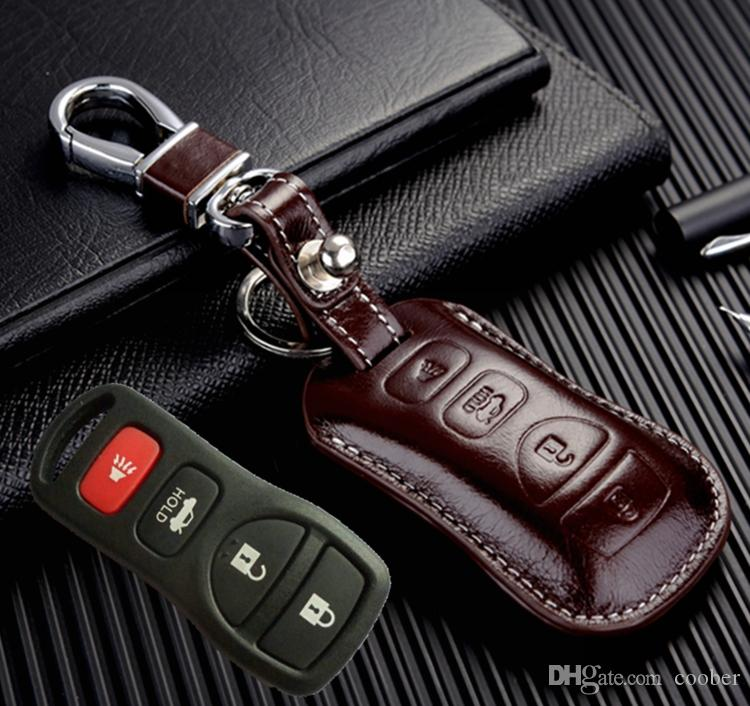 جلد طبيعي السيارة الذكية مفتاح فوب يغطي لإنفينيتي 350z g35 i35 m45 q45 qx56 النائية المفاتيح الجلود أقراط حامل