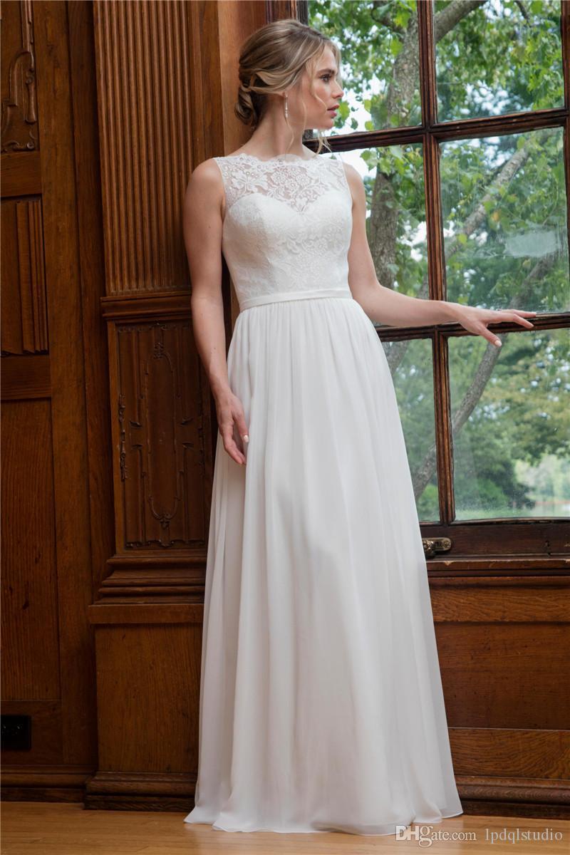 Robe de mariée A-ligne caractéristiques top en dentelle, jupe en mousseline de soie Elegant Lace Robes de mariée Robes de mariée étage longueur Ivoire, blanc sur mesure