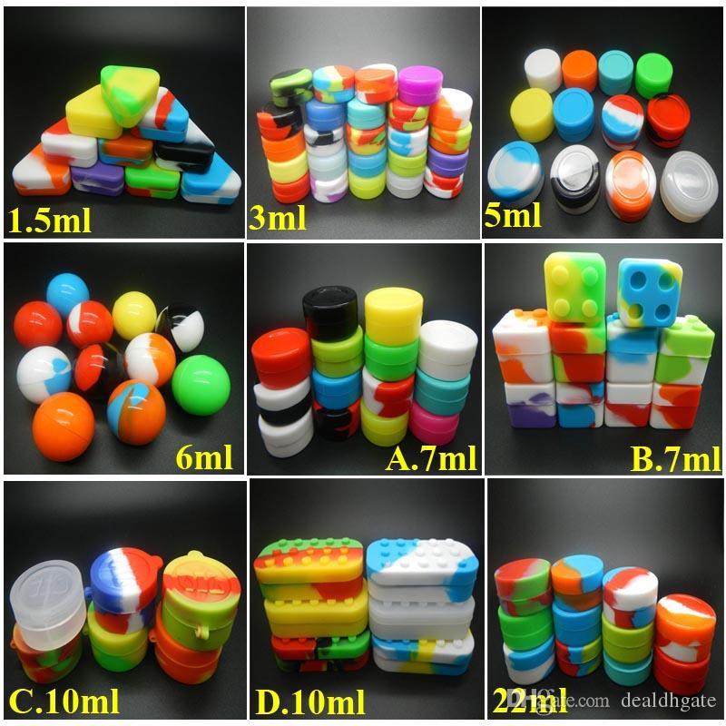 Balmumu Konteynerler Için 6 + 1 Silikon Konteynerler Silikon Kavanozlar 1.5ml 3ml 5ml 6ml 7ml 10ml 22ml silikon sigaralar e sigaralar ücretsiz kargo