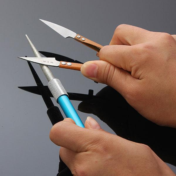 Moda 3en1 Afilador de grano de diamante Caza al aire libre Pesca Cuchillo Gancho Cuchillo Afilador de limas Obtener Shar-p Blade