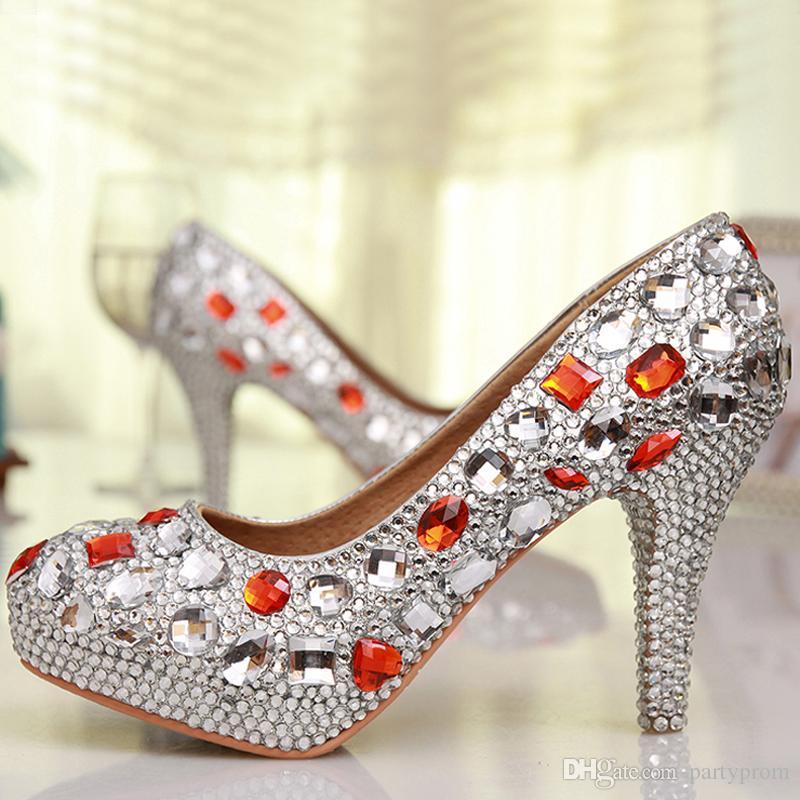 Free Shipping Luxury Handmade Silver Rhinestone Red Crystal Wedding Shoes Round Toe High Heel Bridesmaid Shoes Prom High Heels