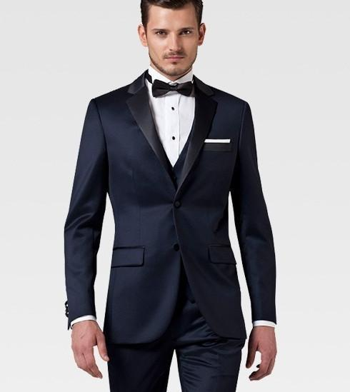 Cheap Slim Fit Two Buttons Navy Blue Groom Tuxedos Notch Lapel ...