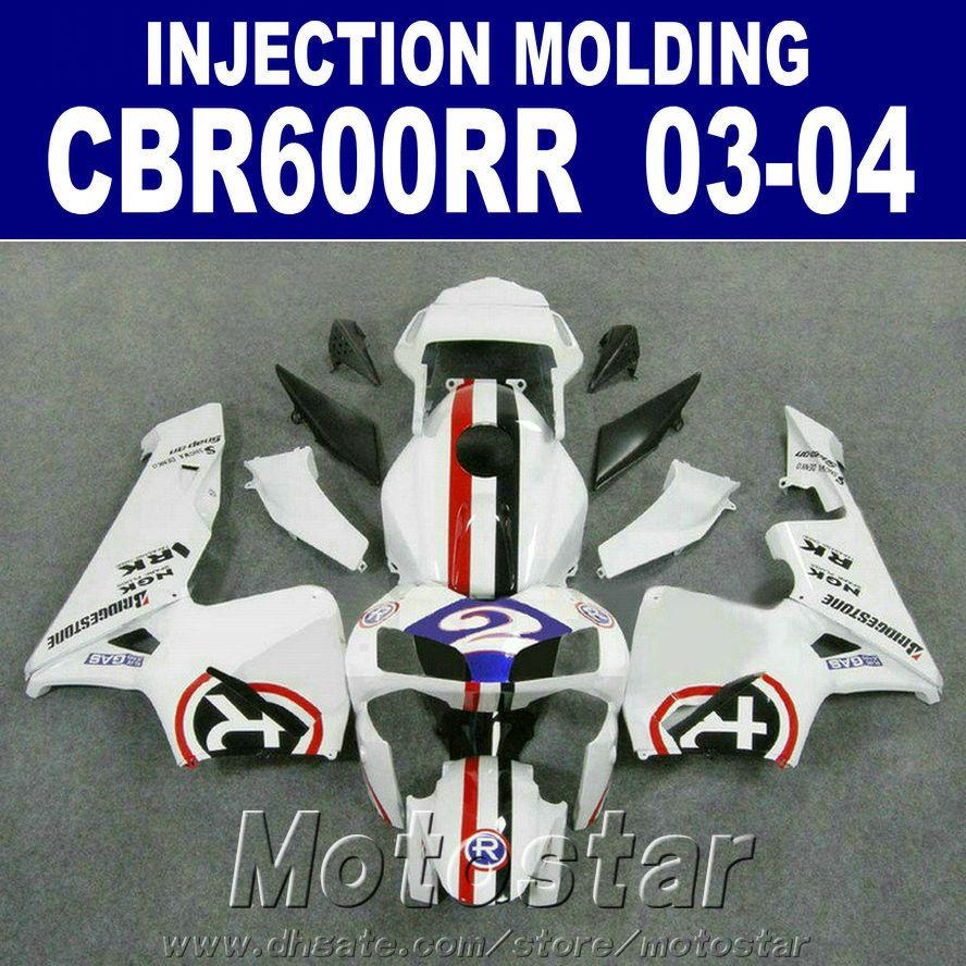 HONDA CBR 600RR beyaz 03 04 CBR600RR ABS bodyworks Kalıp 2004 Enjeksiyon 2003 kaporta için% 100 Fit + 7Gifts Y3ED