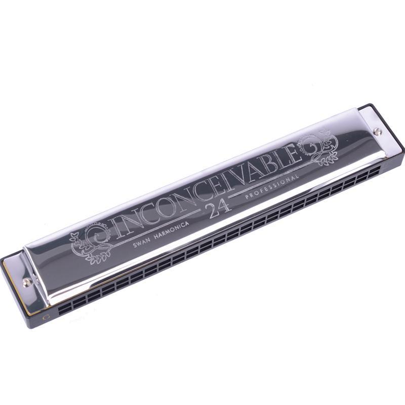 Swan SW24-4 Tremolo Harmonica 24 Holes 48 Tons C chave com Black Box