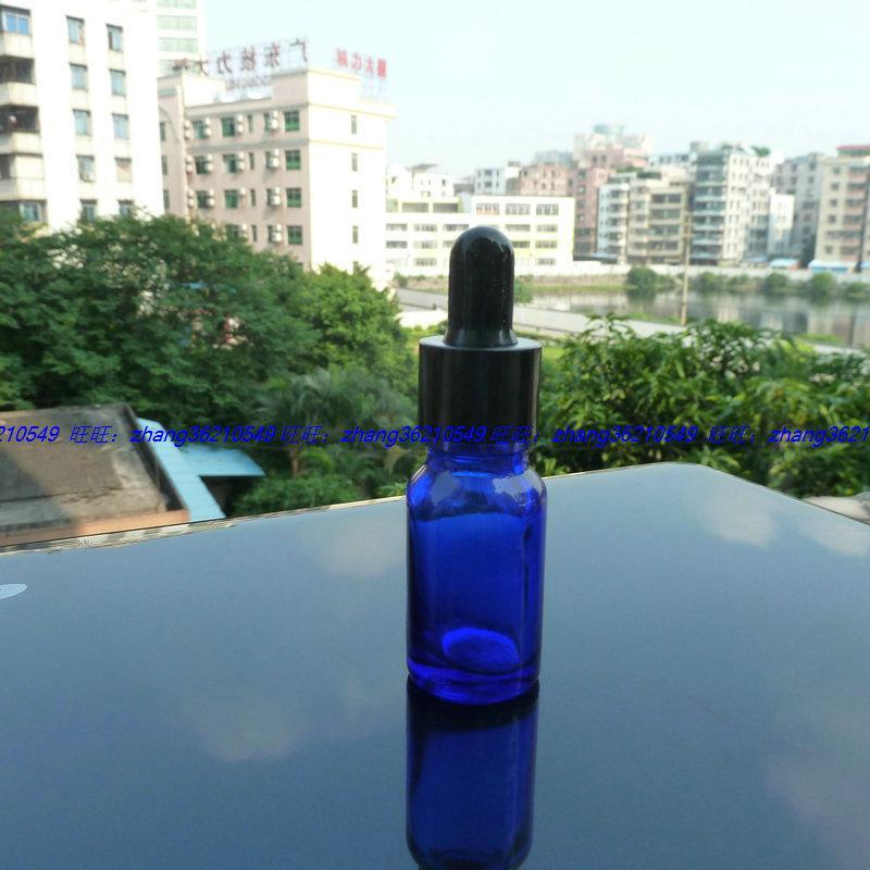 10ml 파란색 유리 에센셜 오일 병 반짝이는 검은 점이 뚜껑이 달린 알루미늄 캡. 오일 바이알, 에센셜 오일 용기