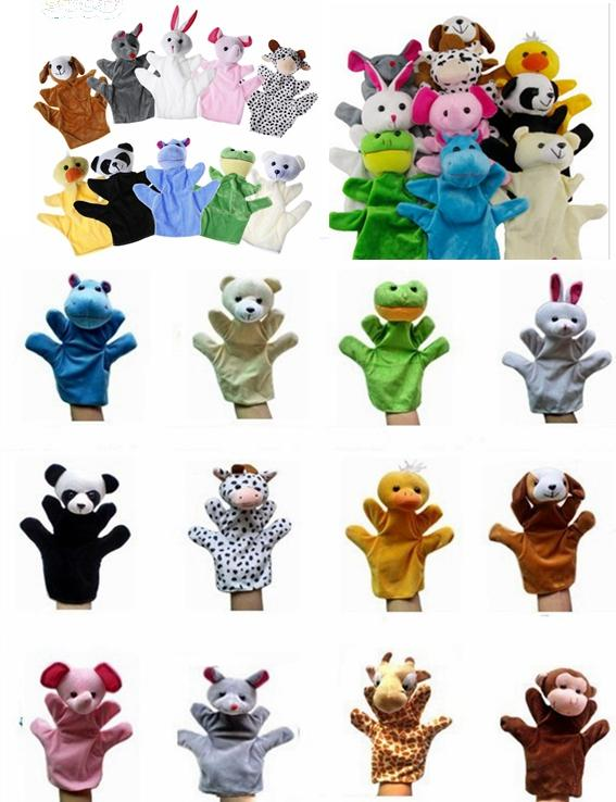 "100 st / parti 9 ""djur handhandske dockor stor plysch marionett hand leksak baby barn zoo gård djur handhandske marionett finger säck plysch leksak"