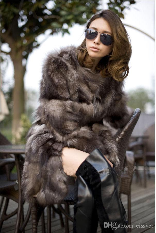 New Silver Fox Fur Coats Women Long Luxury Fashion Fox Fur Coats ...