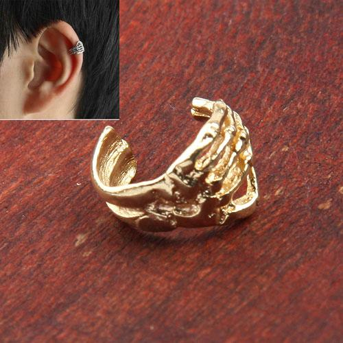 2013 جديد حار الفضة / الذهب الهيكل العظمي اليد الجمجمة الغضروف أقراط كليب التفاف الأذن الكفة