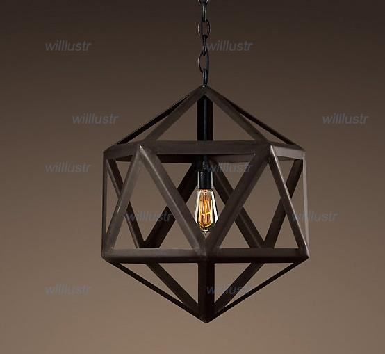 RH Lighting Restoration Hardware Vintage Pendant Lamp STEEL POLYHEDRON PENDANT RH Loft lights hot sale fixture