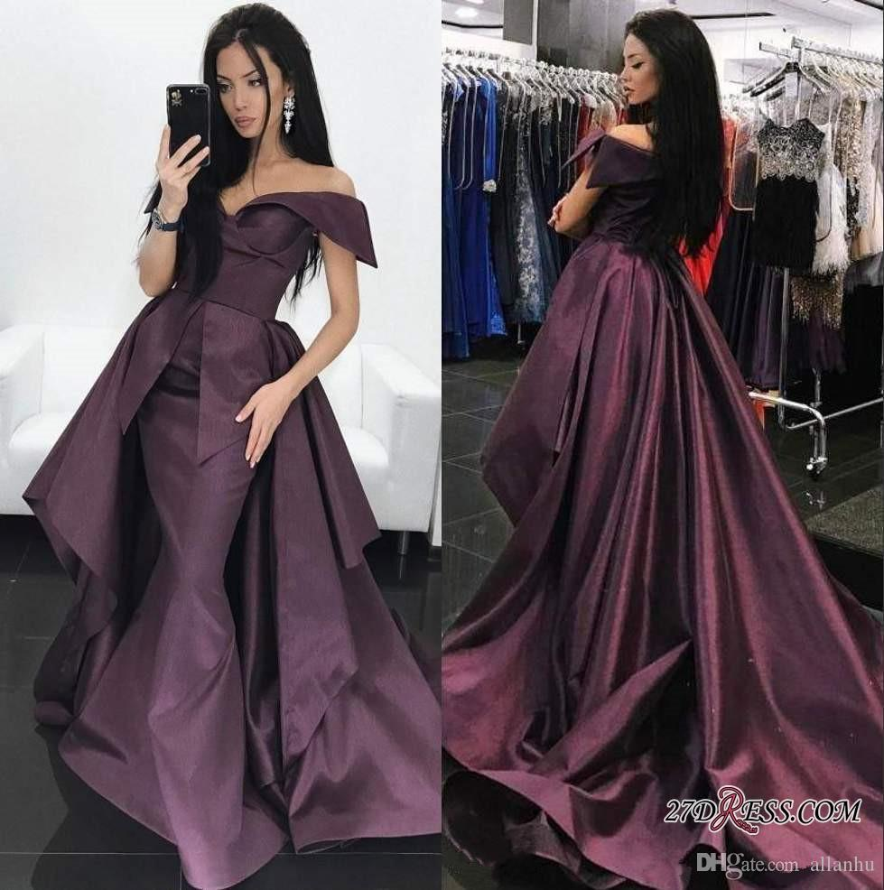 2018 Gorgeous Grape A Line Evening Dresses With Train Off Shoulder Court Train Satin Formal Prom Dress Pleats Party Gown Custom
