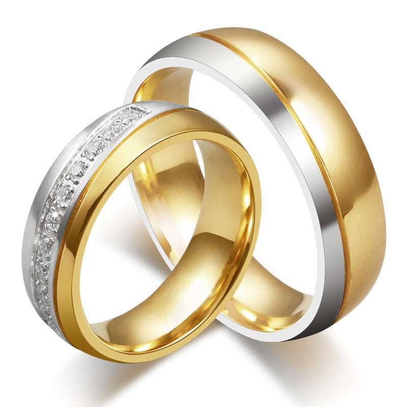 Neue CZ Paar Kristall Ringe für Liebhaber 18 Karat vergoldet Edelstahl Hochzeit Männer Frauen Party Kleid Geschenk Schmuck