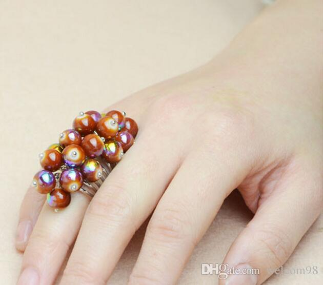 12pcs / lot MIX Style Crystal Fashion Rid Ring para DIY Joyería Regalo Artesanía RI57