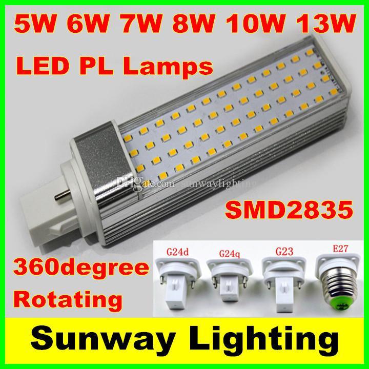 SMD 2835 LED Lâmpada Horizontal Plug E27 G23 G24 G24Q G24D Lâmpadas Lâmpadas LED 5W 7W 9W 10W 12W Lighting AC85-265V