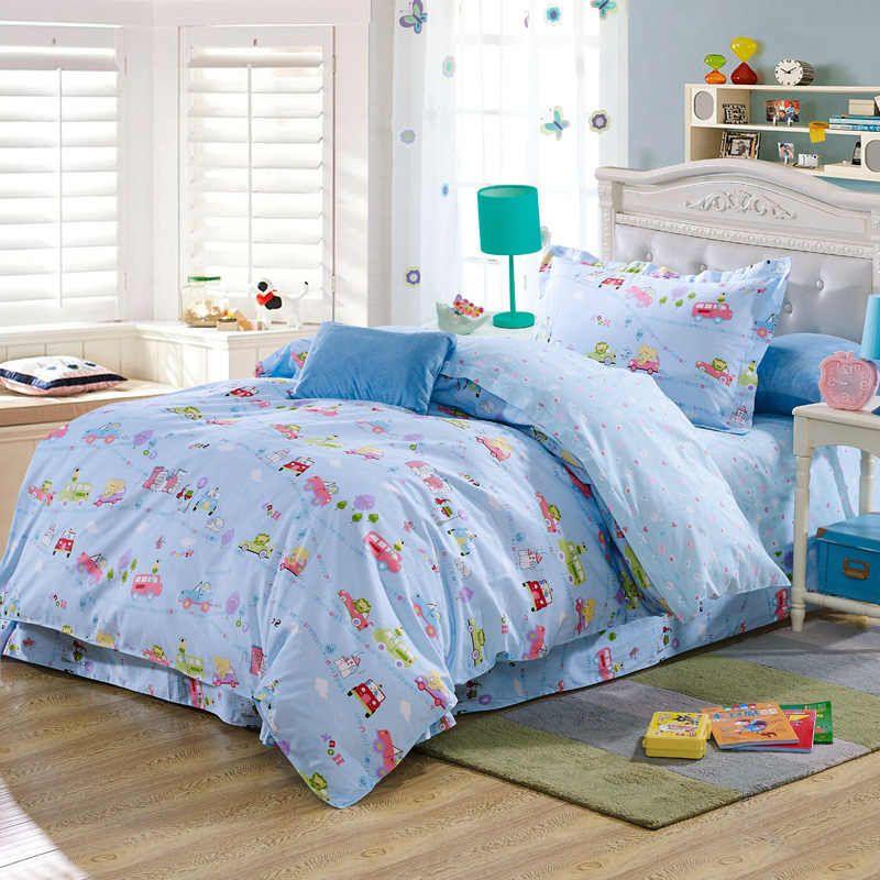 Children cartoon car bus animal comforter bedding sets 100% cotton ... : car quilt cover - Adamdwight.com