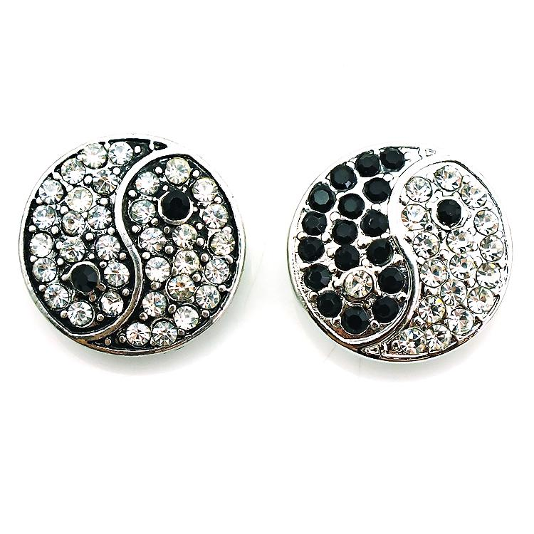 Free Shipping Fashion 18mm Snap Buttons 2 Color Rhinestone Metal Bottom Clasps DIY Ginger Chunk Jewelry Accessories