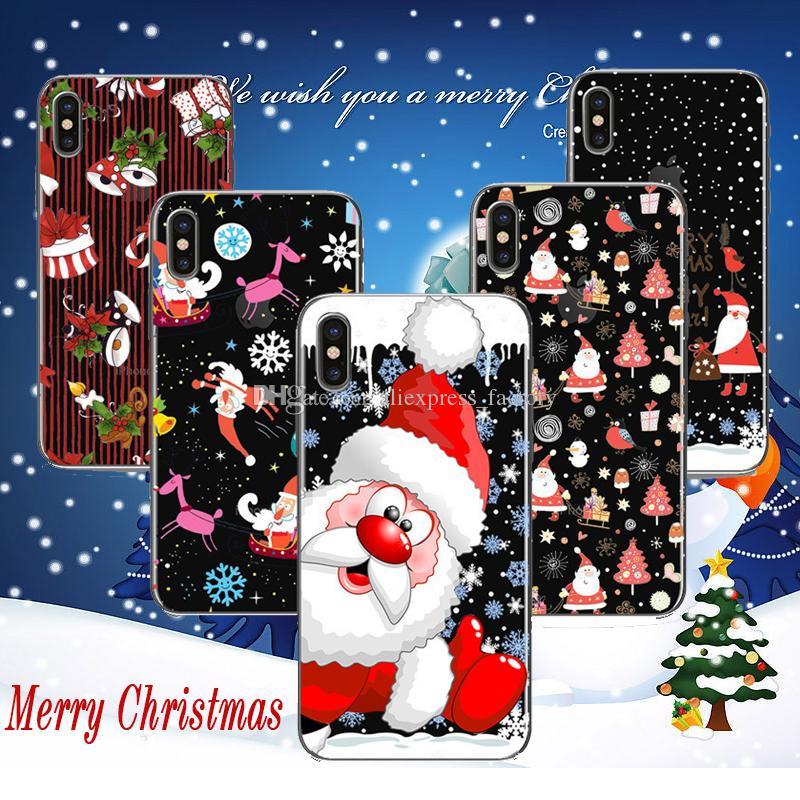 Frohe Weihnachten Fall Weihnachtsmann Elch Farbige Zeichnung Druck Malerei Weiche TPU Gel Klar Transparente Rückseitige Abdeckung Für iPhone X 8 7 Plus 6 6S
