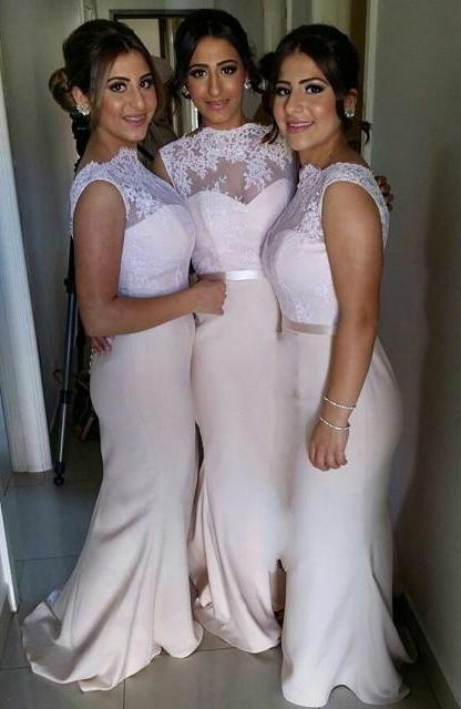 Blush Pink African Nigerian Lace Vestidos de dama de honor largos Sirena Vestido de fiesta de bodas Vestidos de baile Vestidos de noche atractivos Joyas sin respaldo por encargo