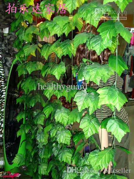 240 CM Uzunluk Yapay yeşil üzüm asmaları büyük yapraklar Sarma vine Yeşil Yaprak Ivy Çiçek Rattan Ev Dekor için Bar Restoran Süslemeleri